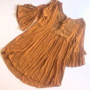 Forever 21 Burnt Orange Boho Cold Shoulder Tunic